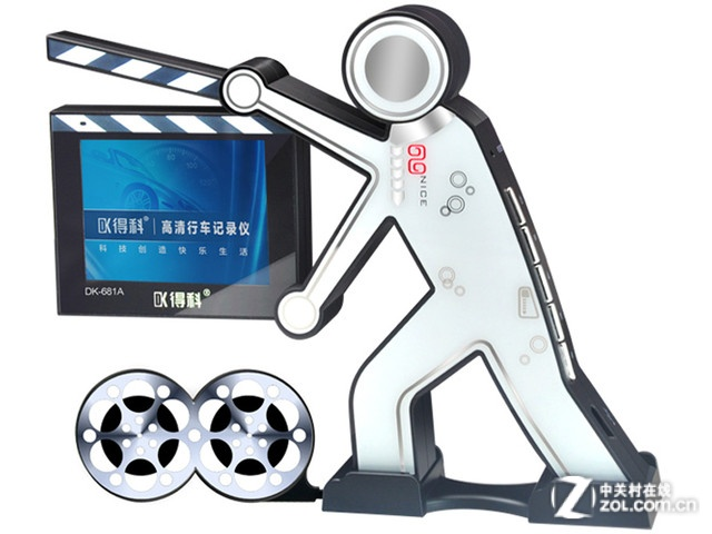 行车记录仪是一款手持场记牌的摄影者形象,表层通过铂金高光镜面电镀
